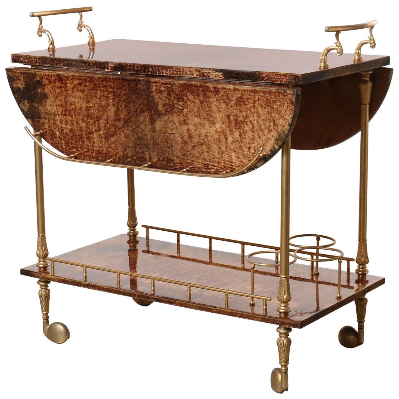 Original Aldo Tura Two Tier Rolling Serving Cart Brass