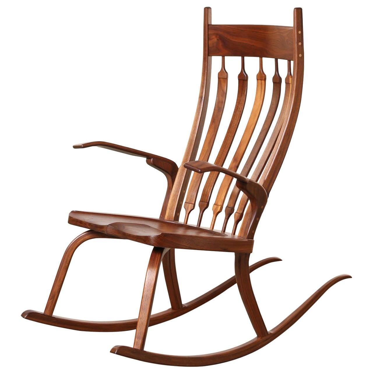 Contemporary california craftsman rocking chair dark walnut at 1stdibs
