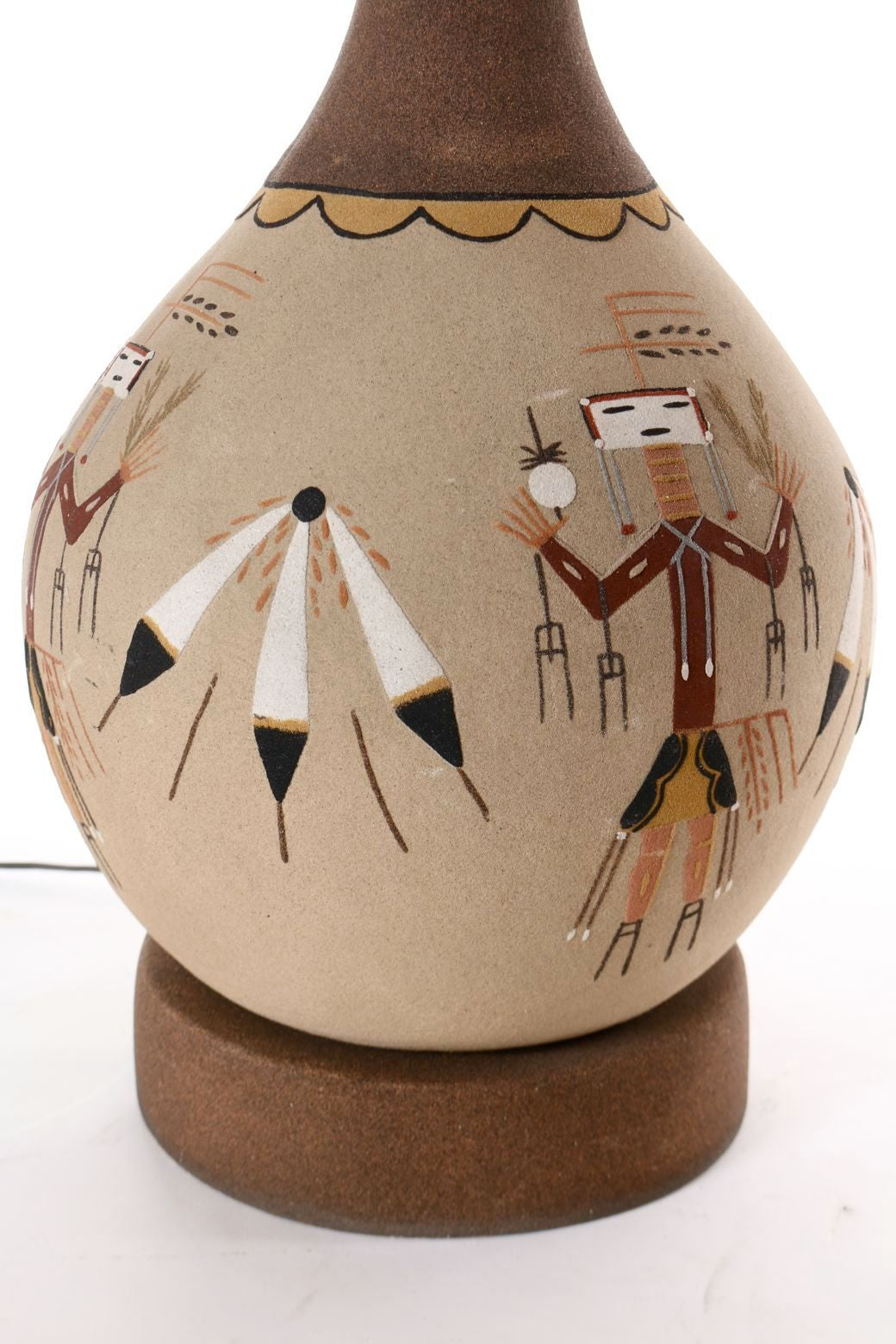 Sand Painted Native American Yei Lamps Circa 1960 At 1stdibs