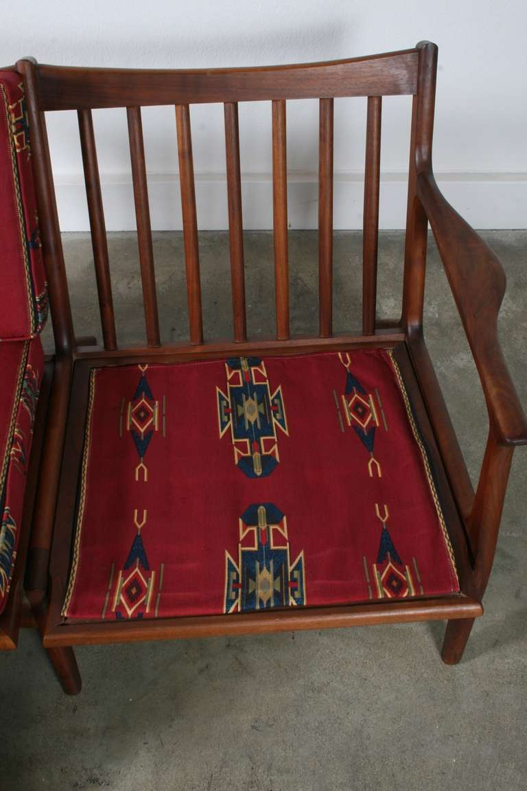 Rare Danish Loveseat With Native American Inspired