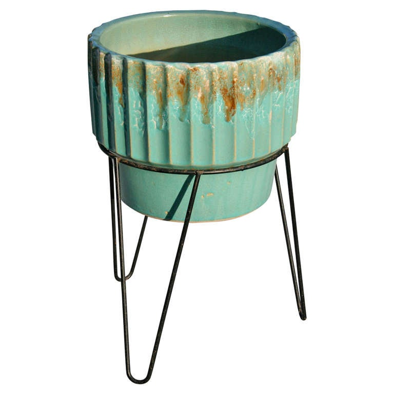 Robinson Ransbottom Planter With Wrought Iron Plant Stand