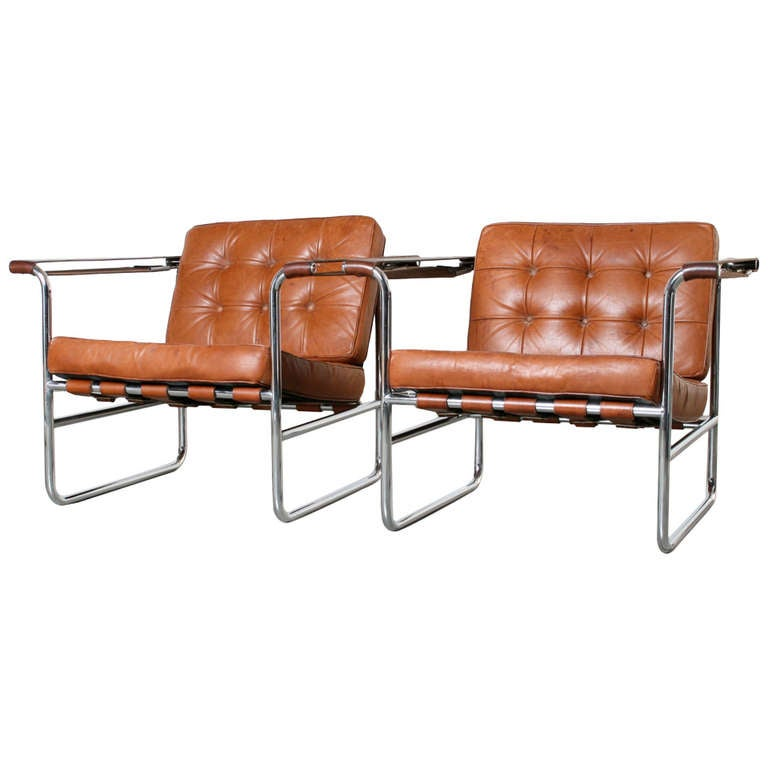 Pair Of Leather And Chrome Lounge Chairs By Karl Thut For Stendig 1