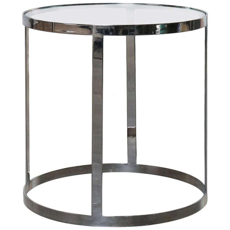 Milo Baughman Chrome Coffee Table: Milo Baughman Chrome And Glass Side / Cocktail Table