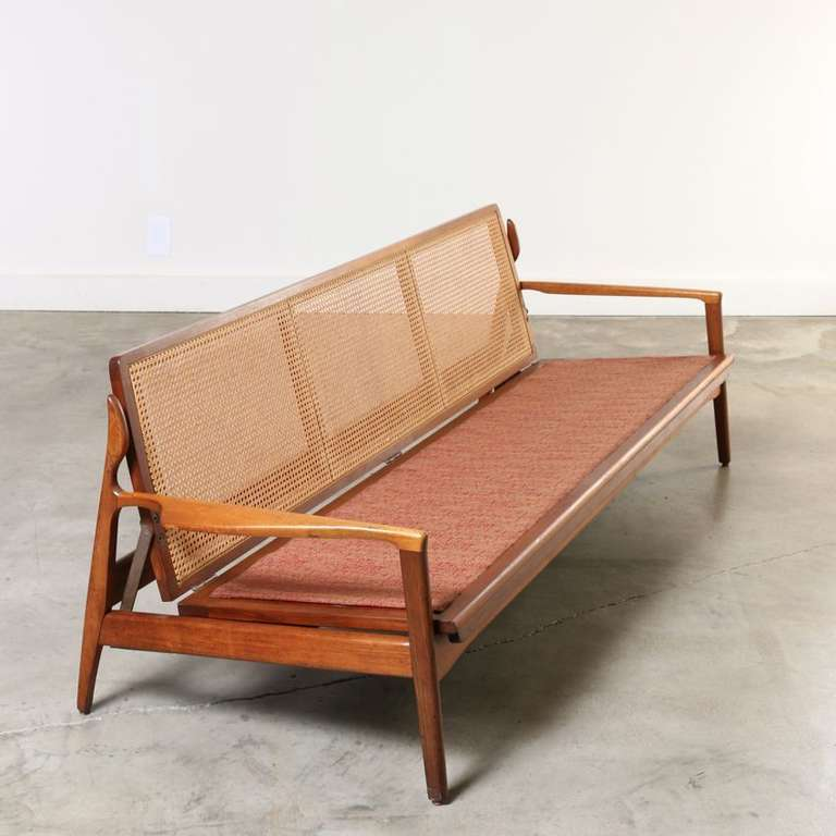 Midcentury Sofa Wood Frame With Cane Back Denmark 1960s At 1stdibs