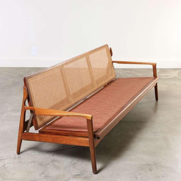 midcentury sofa wood frame with cane back denmark 1960s 3 - Wooden Frame Sofa