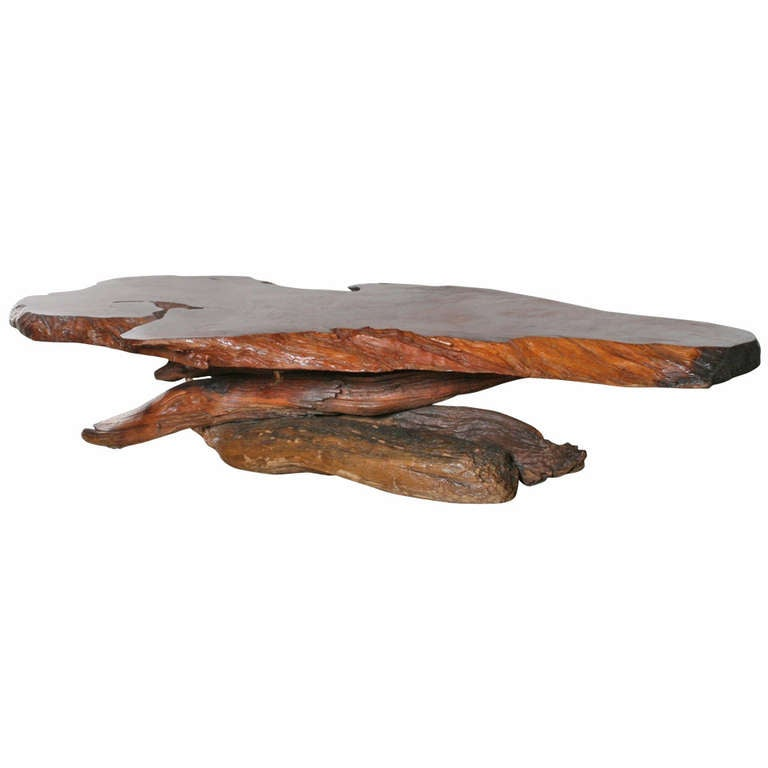 california redwood slab coffee table 1960s at 1stdibs With california redwood coffee table