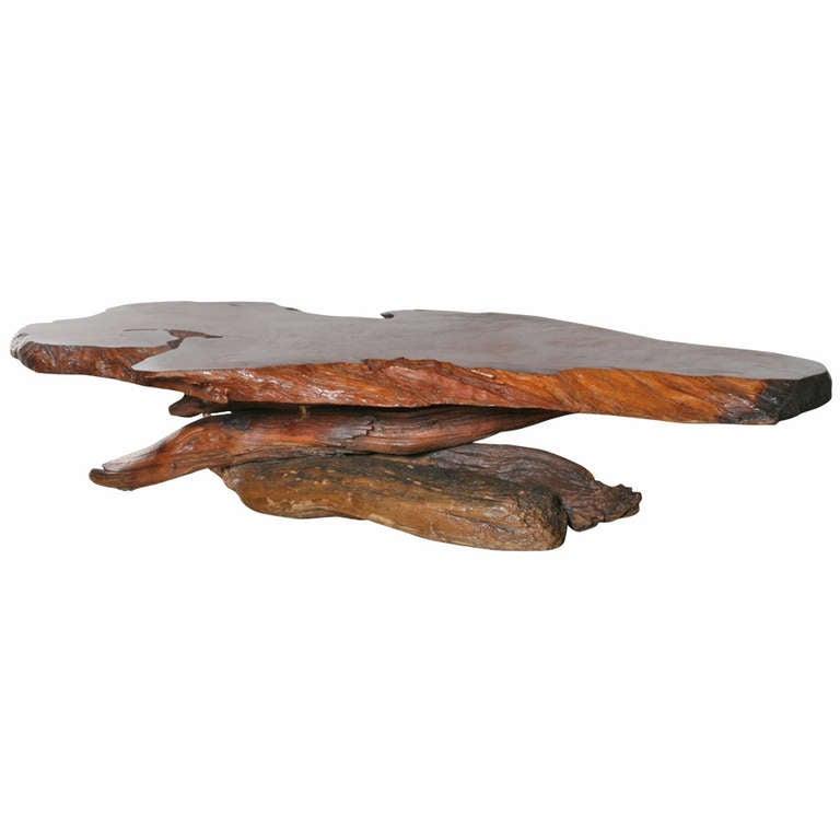 California Redwood Coffee Table: California Redwood Slab Coffee Table, 1960s At 1stdibs