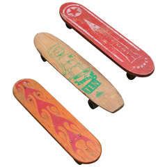 Collection of Three 1960's Wooden Skateboards