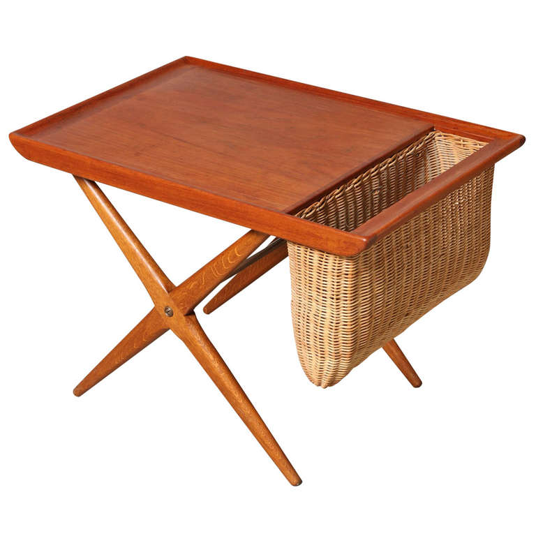 Teak Side Table with Woven Magazine Basket 1960 Norway