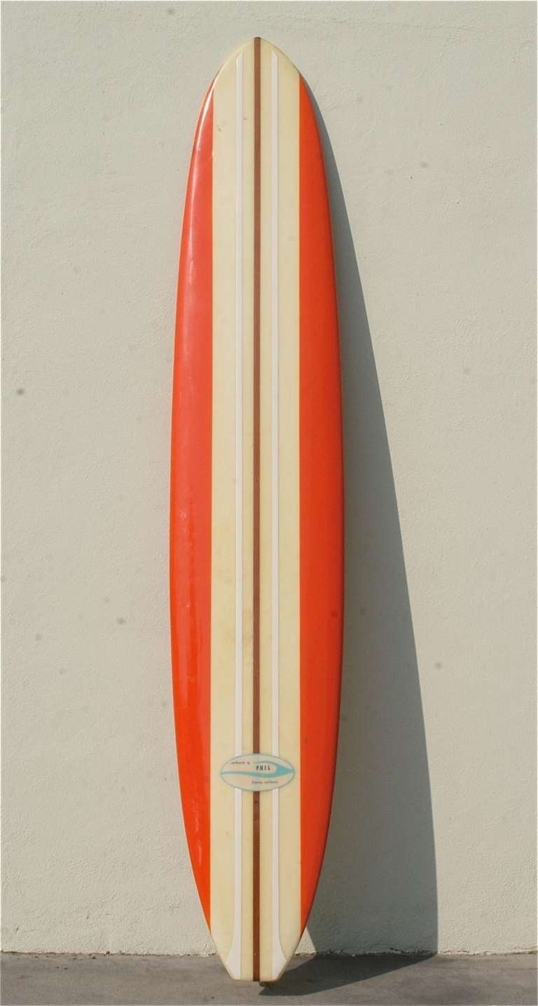 1960's Phil Longboard, Surfboard to the Stars at 1stdibs Vintage Surf Board