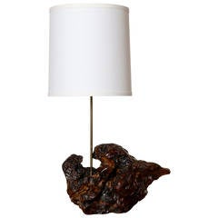 Burl Wood Table Lamp with Shade, California, 1960s