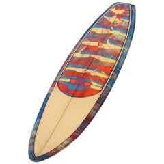 "Traditional Dewey Weber ""SKI"" Red Blue Artistic Paint Splatter Surfboard"