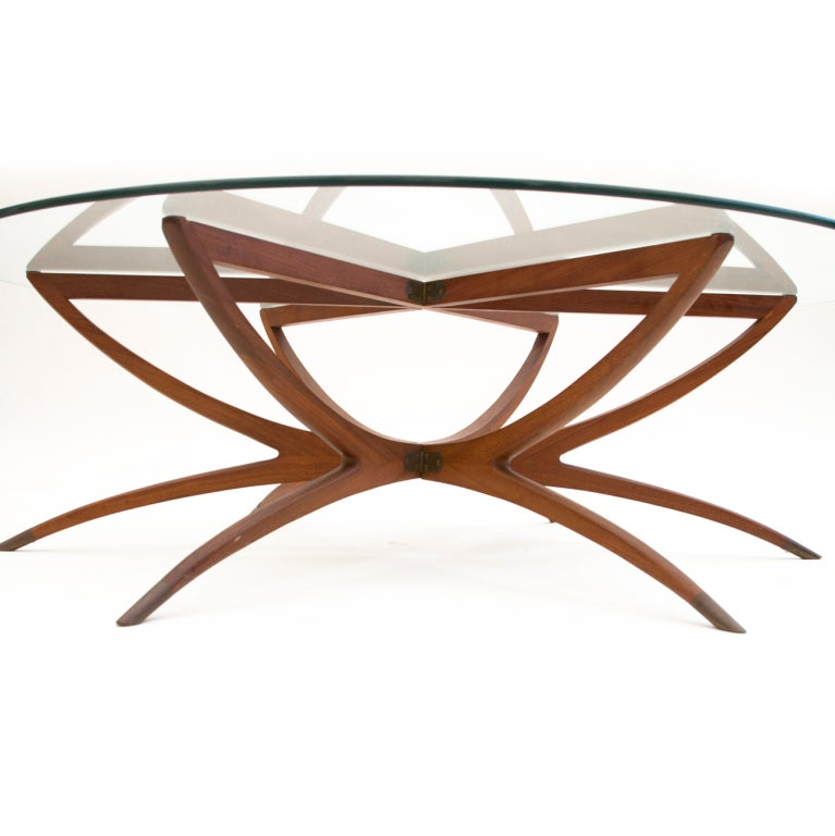 Round Spider Leg Coffee Table With Glass Top 1950s At 1stdibs