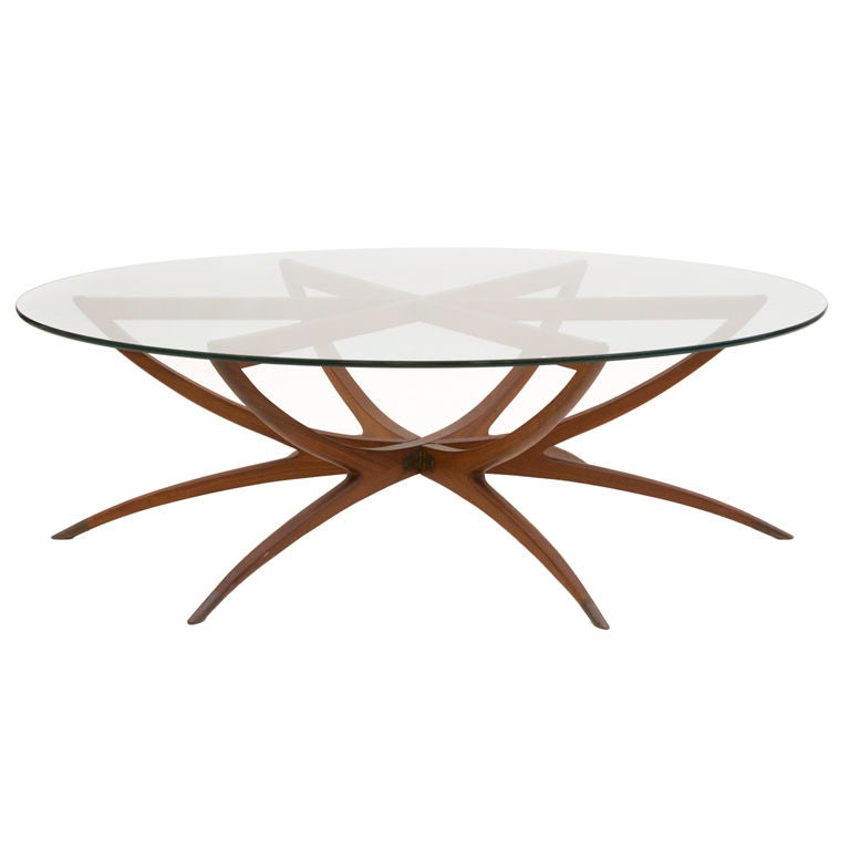 Round Spider Leg Coffee Table With Glass Top, 1950s 1