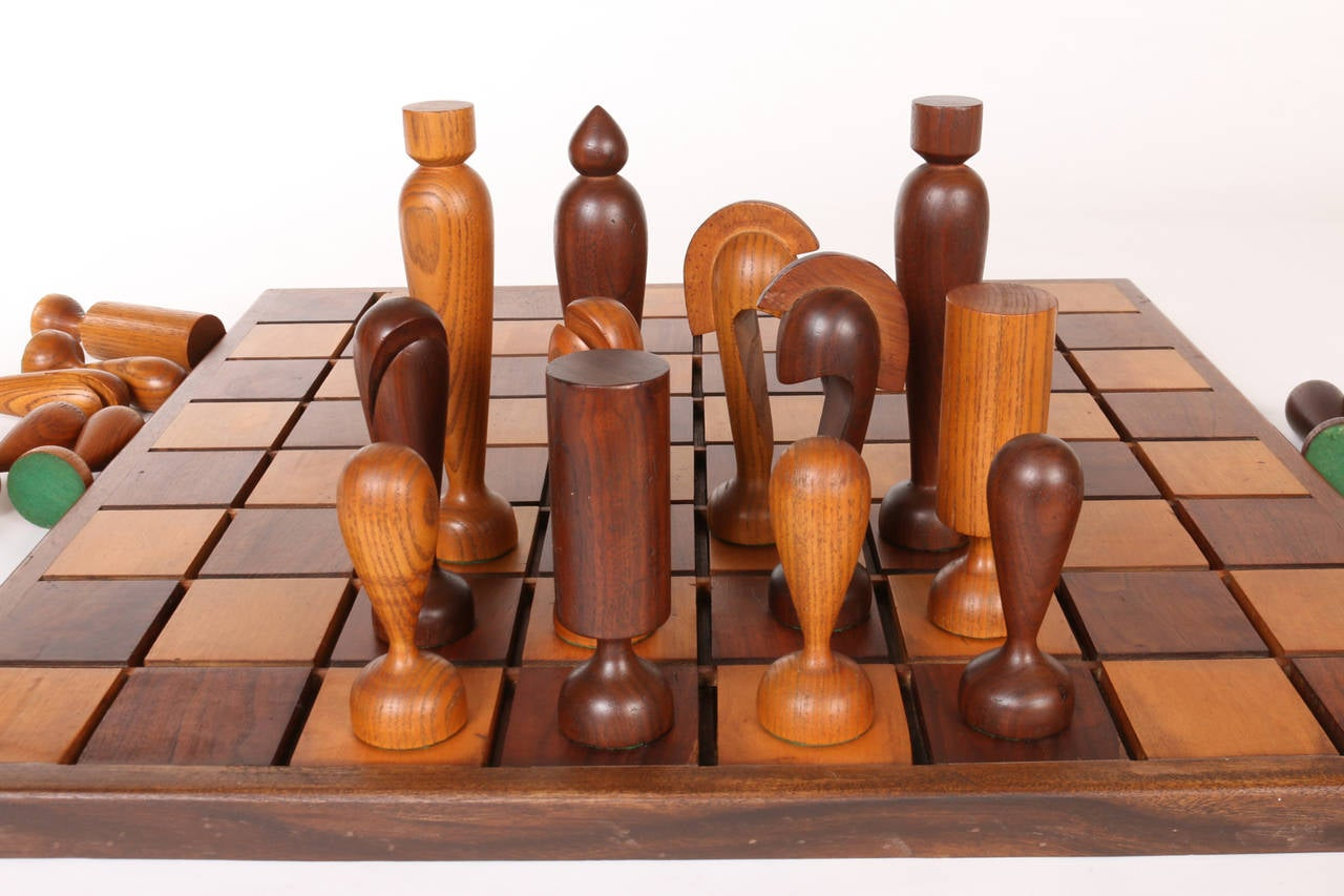 Oversized Wooden Chess Set Handcrafted In California