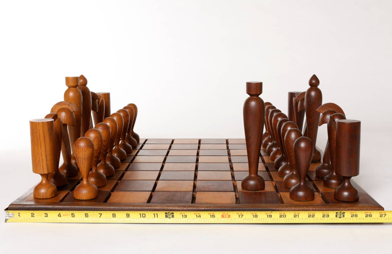 Detailed Chess Set Part - 48: Oversized Wooden Chess Set, Handcrafted In California, Circa 1960s 2