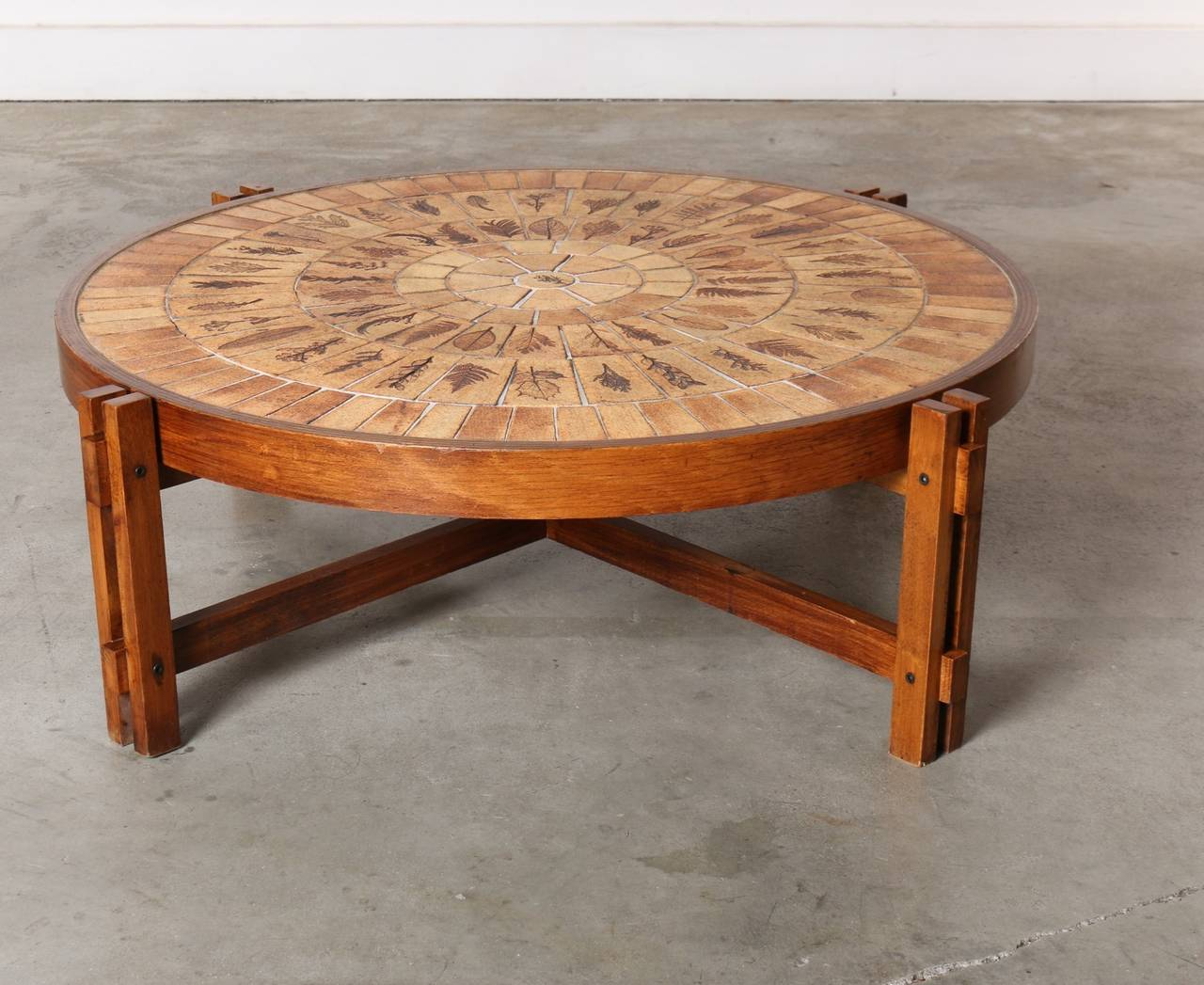 Roger Capron Round Coffee Table Pressed Leaves In Ceramic