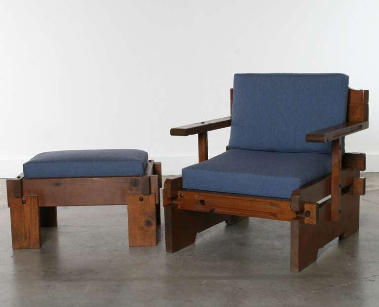 Mid Century Rustic Chairs And Ottoman California At 1stdibs