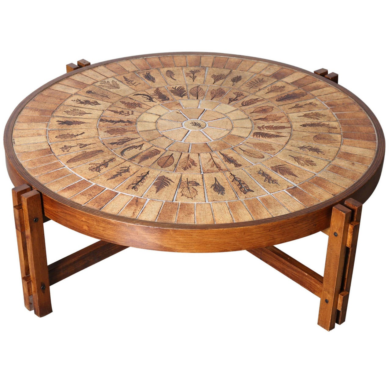 Roger Capron Round Coffee Table Pressed Leaves In Ceramic Tile Top At 1stdibs