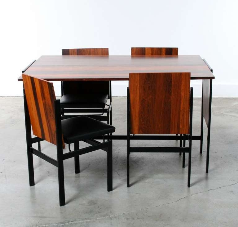 Modular Rosewood Dining Table And 4 Chair Set At 1Stdibs