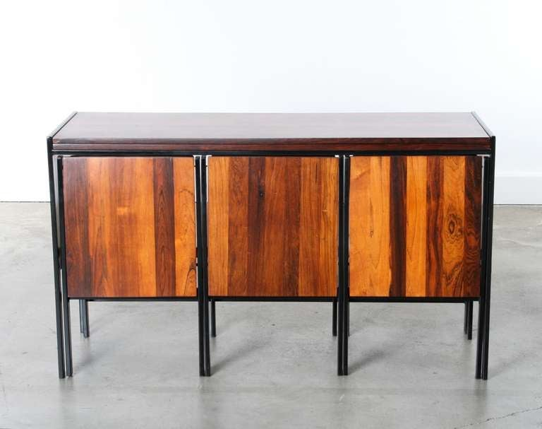Modular Rosewood Dining Table And 4 Chair Set Image 2