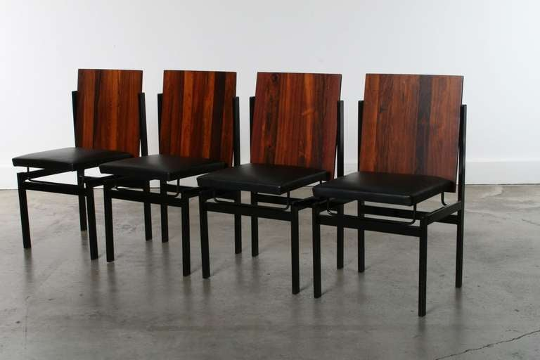 Modular rosewood dining table and 4 chair set at 1stdibs - Modular dining room ...