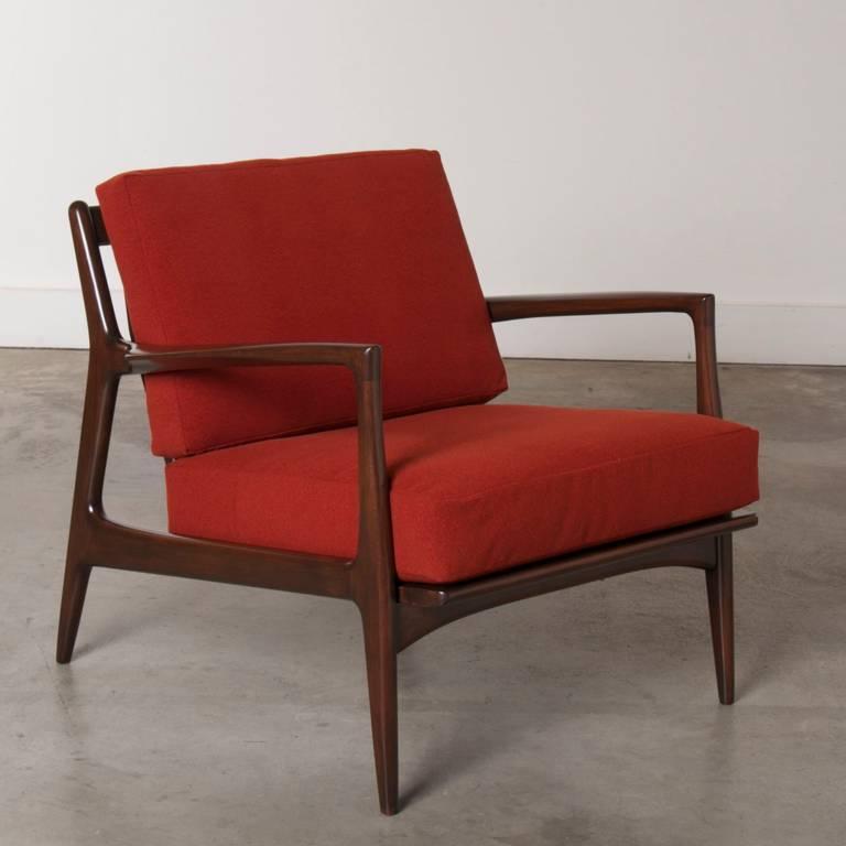 Dux mid century scandinavian design walnut arm chair for Sixties furniture design
