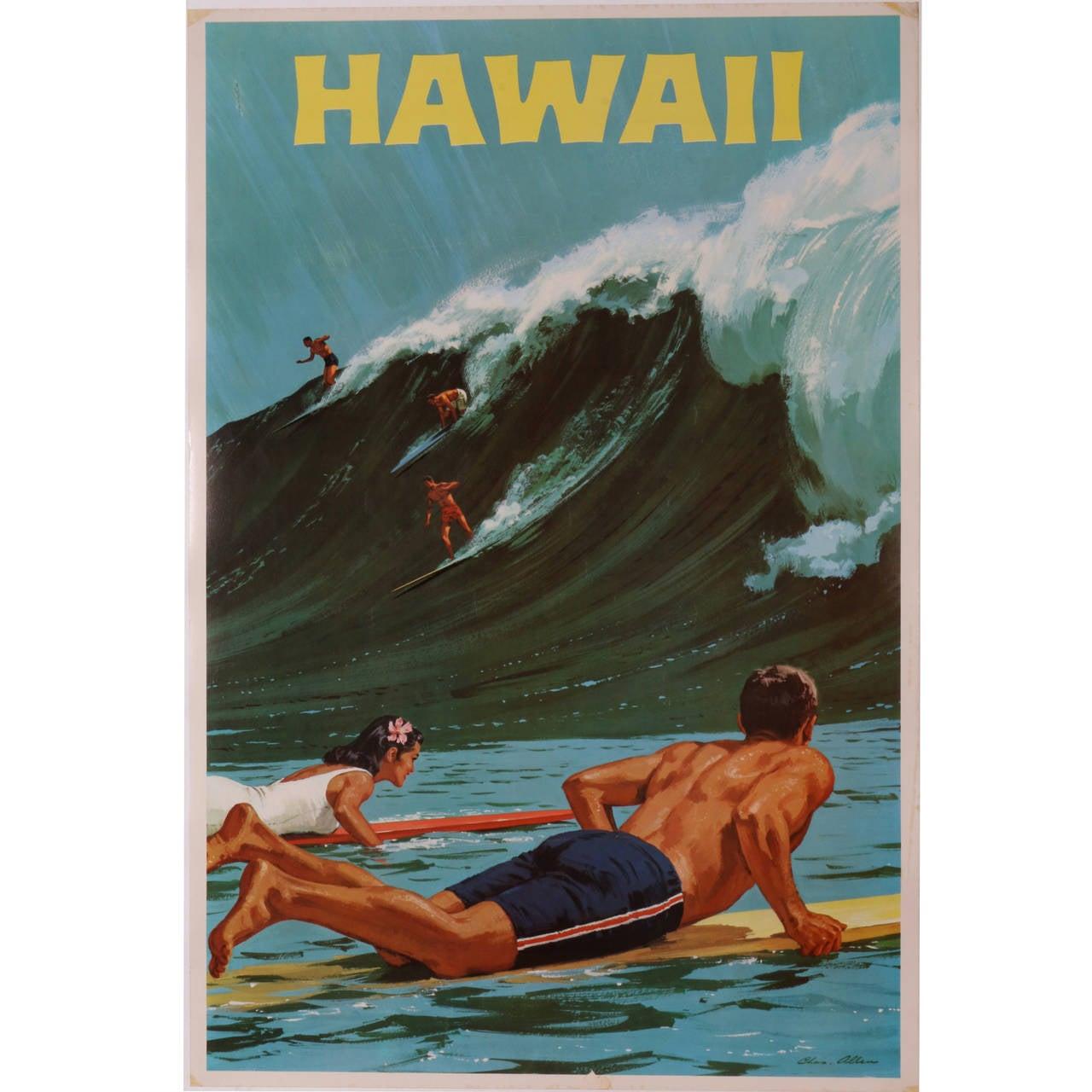 Rare Original Hawaii Surf Poster By Chas Allen Circa 1958