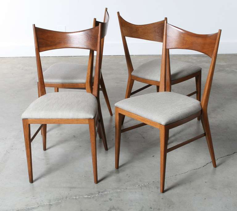 Paul McCobb Bowtie Walnut Dining Chairs For Calvin Furniture Set Of 4 3