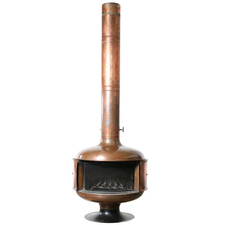 1970s Copper Fire Drum 2 Fireplace, Featured in Pasadena Design ...