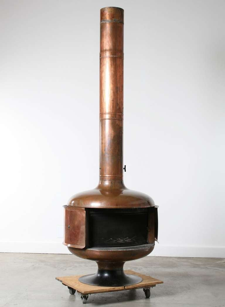 1970s Copper Fire Drum 2 Fireplace Featured In Pasadena
