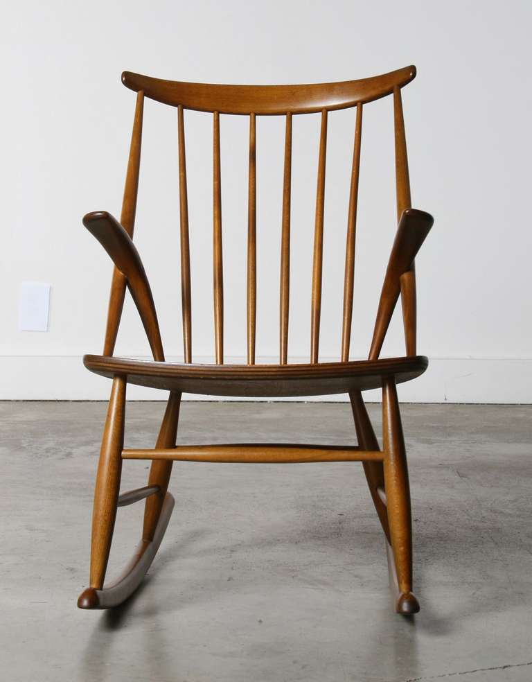Danish Rocking Chair by Illum Wikkelso 1958 at 1stdibs