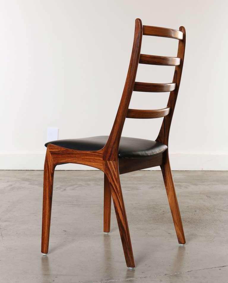 Set of 8 rosewood and leather dining chairs kai kristiansen denmark at 1stdibs - Kai kristiansen chair ...