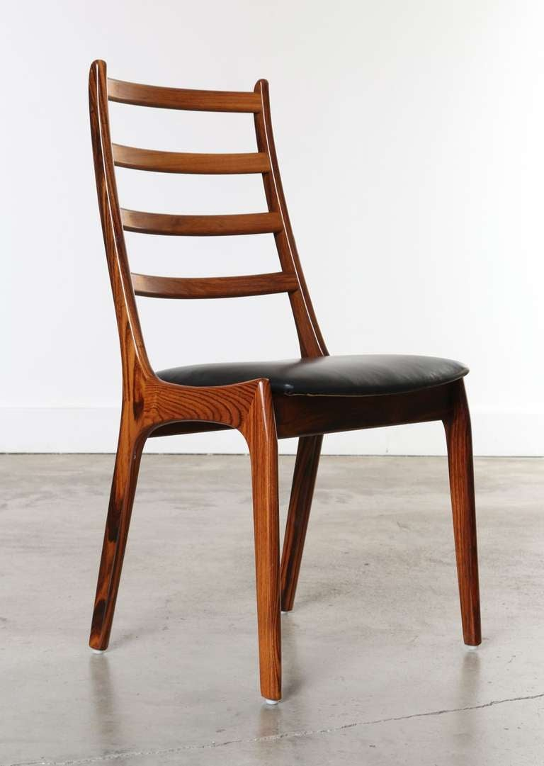 Set of 8 rosewood and leather dining chairs kai kristiansen denmark at 1stdibs - Kai kristiansen chairs ...