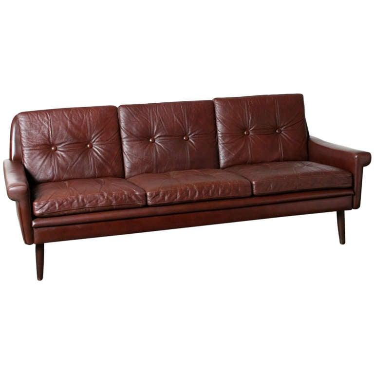 Danish modern leather tufted sofa at 1stdibs for Danish modern sofas