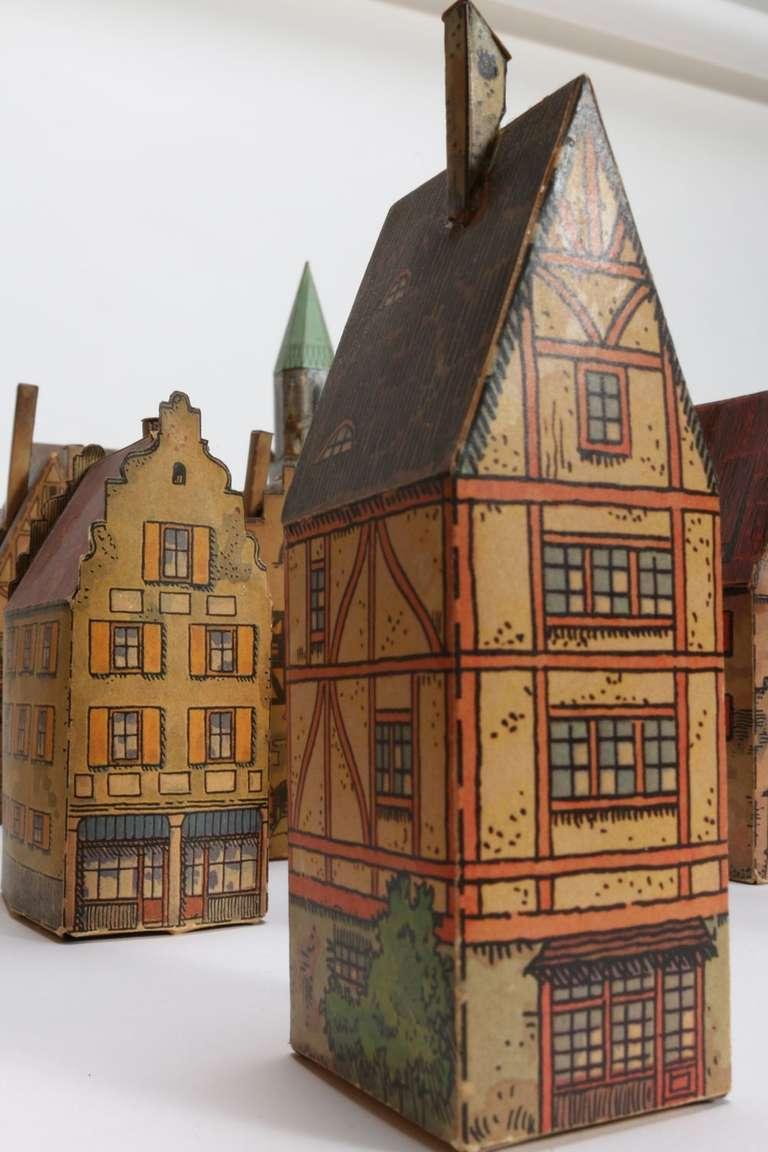Rare Antique Toy Paper House Village Lithograph Paper At