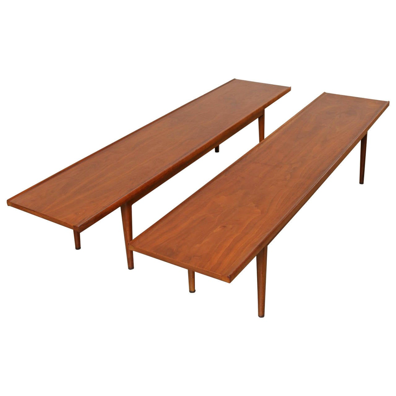 Pair Of Walnut Bench Tables By Kipp Stewart For Drexel 1960s At 1stdibs