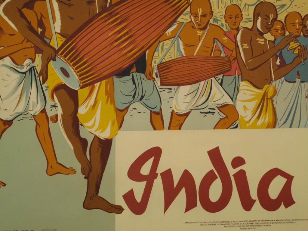 Original 1950s India Travel Poster 2