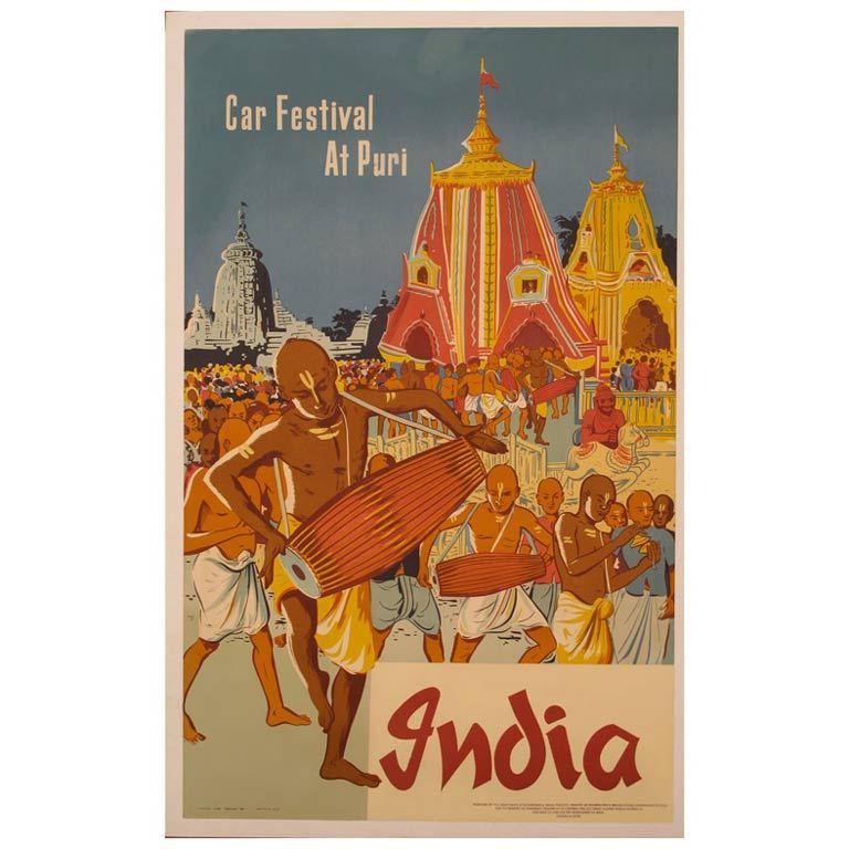 Original 1950s India Travel Poster 1