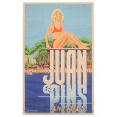 Juan le Pins Antibes Original Vintage Poster, French Travel Advertising, 1940s