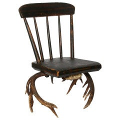 Folk Art Chair, Wood and Antler, circa 1890s