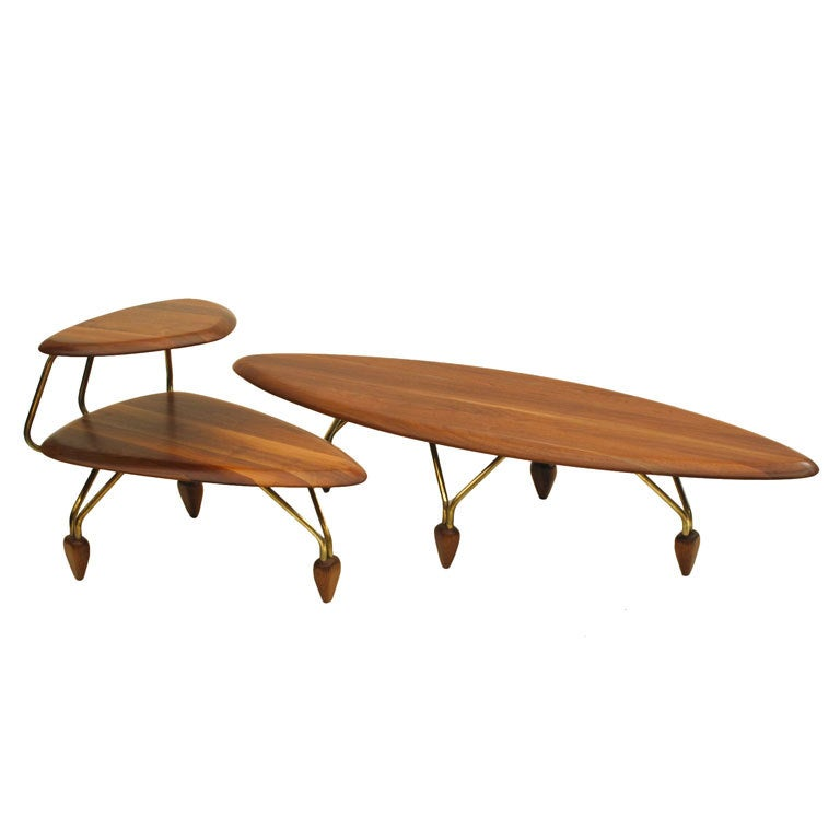 Mid Century Coffee Table John Keal For Brown Saltman At: John Keal For Brown Saltman Surfboard Coffee Table And End