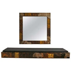 Brutalist Mirror and Console Table by Paul Evans