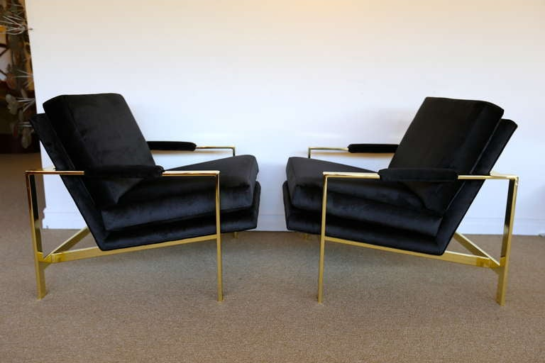 Pair of Brass & Velvet Lounge Chairs by Milo Baughman for Thayer Coggin.