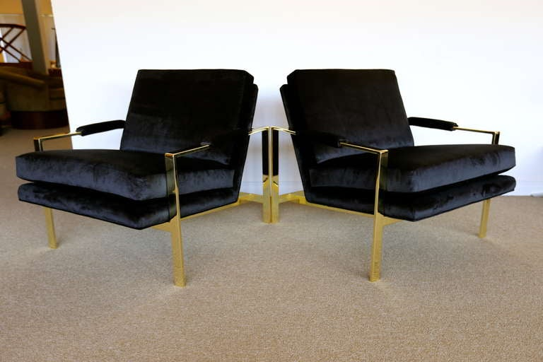 American Pair of Brass & Velvet Lounge Chairs by Milo Baughman For Sale