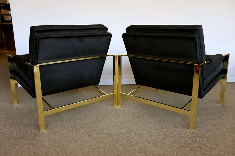 Pair of Brass & Velvet Lounge Chairs by Milo Baughman For Sale 1