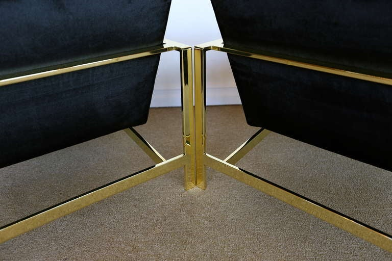 Pair of Brass & Velvet Lounge Chairs by Milo Baughman For Sale 4