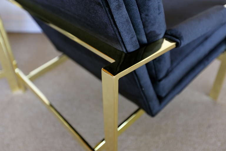 Pair of Brass & Velvet Lounge Chairs by Milo Baughman In Excellent Condition For Sale In Costa Mesa, CA