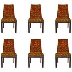 Set of Six Dining Chairs by Robert Baron with Original Jack Lenor Larsen Fabric
