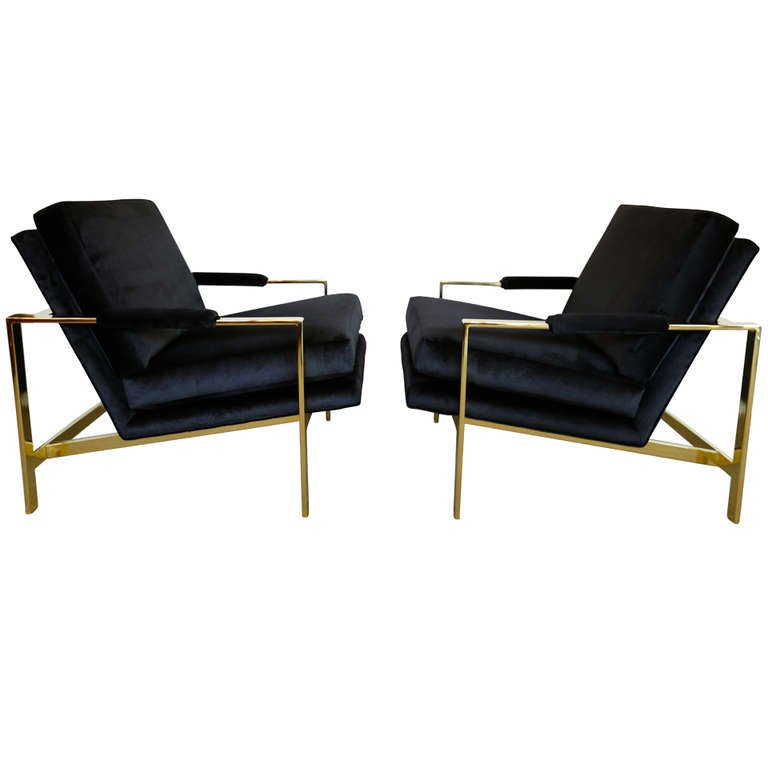 Pair of Brass & Velvet Lounge Chairs by Milo Baughman For Sale